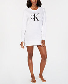 Calvin Klein Women's Monogram Lounge Long-Sleeve Nightshirt