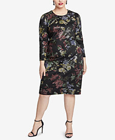 RACHEL Rachel Roy Trendy Plus Size Floral Printed Sheath Dress