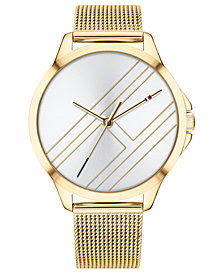 Tommy Hilfiger Women's Gold-Tone Mesh Bracelet Watch 38mm  Created for Macy's