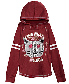 Beautees Big Girls Reversible Sequin Hooded Top