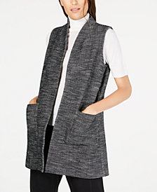 Eileen Fisher Organic Cotton Open-Front Pocket Vest