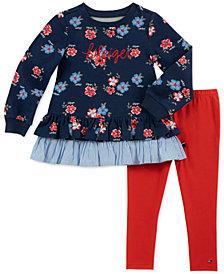 Tommy Hilfiger Toddler Girls 2-Pc. Floral-Print Top and Leggings Set