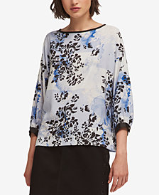 DKNY Printed 3/4-Sleeve Top, Created for Macy's