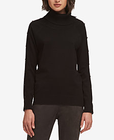 DKNY Button-Detail Turtleneck Sweater, Created for Macy's