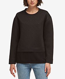 DKNY Studded Layered-Look Sweatshirt, Created for Macy's