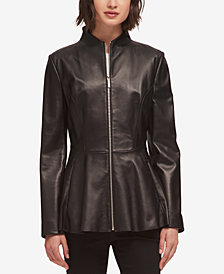 DKNY Leather Peplum Jacket, Created for Macy's
