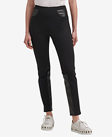 DKNY Ponté-Knit & Faux-Leather Skinny Pants, Created for Macy's
