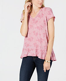 Style & Co Burnout Ruffle-Hem Top, Created for Macy's