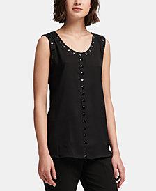 DKNY Studded-Trim Sleeveless Top, Created for Macy's