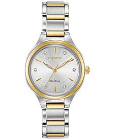 Eco-Drive Women's Corso Diamond-Accent Two-Tone Stainless Steel Bracelet Watch 29mm
