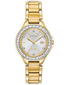 Citizen Eco-Drive Women's Silhouette Crystal Gold-Tone Stainless Steel Bracelet Watch 31mm