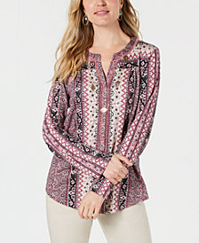 Style & Co Petite Mixed-Print Split-Neck Top, Created for Macy's