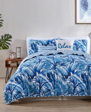Vcny Home Blue Tropical Reversible 5-Pc. Full/Queen Quilt Set 6729037