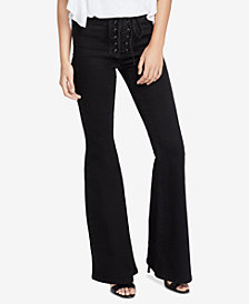 RACHEL Rachel Roy Lace-Up Flared Jeans, Created for Macy's