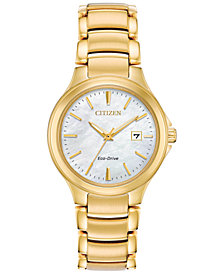 Citizen Eco-Drive Women's Chandler Gold-Tone Stainless Steel Bracelet Watch 30mm