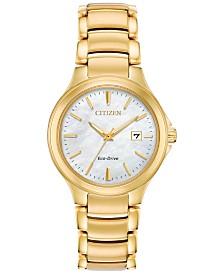 Citizen Eco-Drive Women's Chandler Gold-Tone Stainless Steel Bracelet Watch 30mm