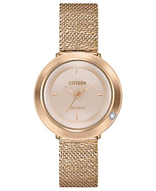 Citizen Eco-Drive Women's L Ambiluna Diamond-Accent Rose Gold-Tone Stainless Steel Mesh Bracelet Watch 32mm