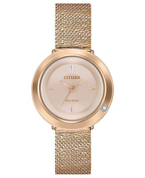 ... Citizen Eco-Drive Women s L Ambiluna Diamond-Accent Rose Gold-Tone  Stainless Steel ... fa074dea56