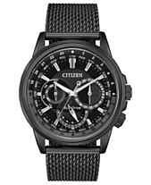 7a2050311df Citizen Eco-Drive Men s Calendrier Black Stainless Steel Mesh Bracelet Watch  44mm