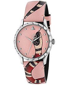 Gucci Women's Swiss Le Marché Des Merveilles Pastel Pink Leather Strap Watch 38mm