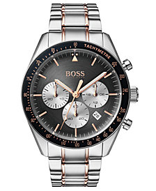 BOSS Hugo Boss Men's Chronograph Trophy Two-Tone Stainless Steel Bracelet Watch 44mm