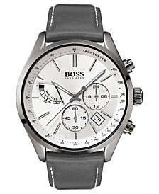 BOSS Hugo Boss Men's Chronograph Grand Prix Gray Leather Strap Watch 44mm