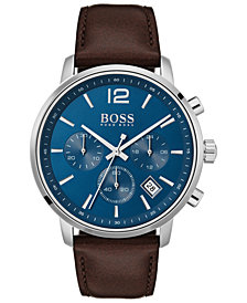 BOSS Hugo Boss Men's Chronograph Attitude Brown Leather Strap Watch 44mm