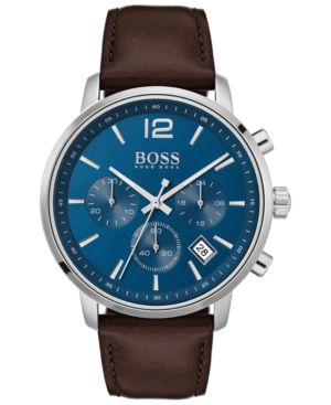 HUGO BOSS Attitude Chronograph Leather Strap Watch, 44Mm in Blue