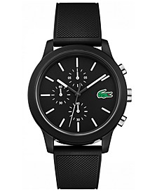 Men's Chronograph 12.12 Black Silicone Strap Watch 44mm