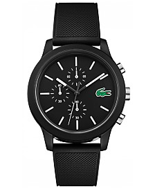 Lacoste Men's Chronograph 12.12 Black Silicone Strap Watch 44mm