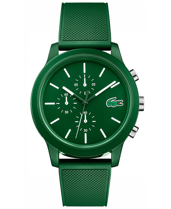 Lacoste - Men's Chronograph 12.12 Green Silicone Strap Watch 44mm