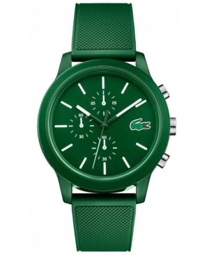 MEN'S CHRONOGRAPH 12.12 GREEN SILICONE STRAP WATCH 44MM