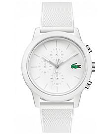 Men's Chronograph 12.12 White Silicone Strap Watch 44mm