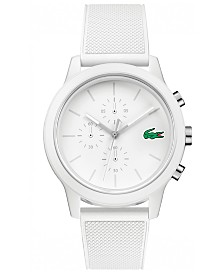 Lacoste Men's Chronograph 12.12 White Silicone Strap Watch 44mm