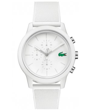Men'S Chronograph 12.12 White Silicone Strap Watch 44Mm from Lacoste