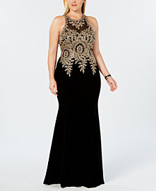 XSCAPE Plus Size Velvet Embroidered Gown