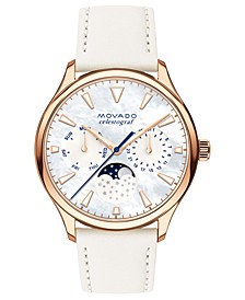 Women's Swiss Heritage Series Celestograf Moonphase White Leather Strap Watch 36mm