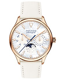 Movado Women's Swiss Heritage Series Celestograf Moonphase White Leather Strap Watch 36mm