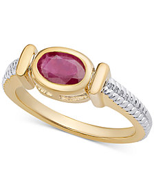 Sapphire Two-Tone Ring (9/10 ct. t.w.) in 14k Gold-Plated Sterling Silver (Also in Rhodolite Garnet, Emerald, Blue Topaz, Peridot & Ruby)