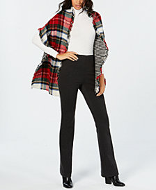 V. Fraas Reversible Houndstooth Plaid Wrap