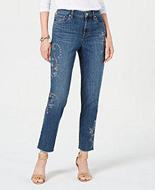 Style & Co Petite Studded Raw-Hem Jeans, Created for Macy's
