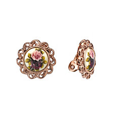 2028 Rose Gold-Tone Flower Round Clip Earrings