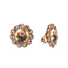 2028 Rose Gold-Tone Flower Round Clip Earrings