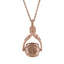 """Rose Gold-Tone 3-Sided Spinner Locket Necklace 30"""""""