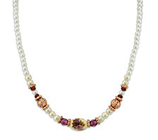 "2028 Rose Gold-Tone Simulated Pearl Purple Crystal Flower Beaded Necklace 15"" Adjustable"