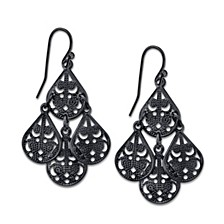 Pear Shaped Filigree Drop Earrings