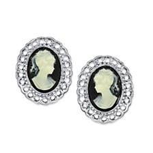 2028 Silver-Tone Black Cameo Oval Filigree Clip Button Earrings