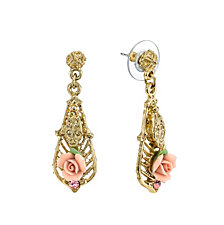 2028 Gold-Tone Pink Porcelain Rose with Pink Accent Drop Earrings
