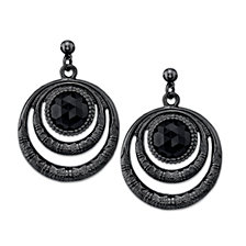 2028 Black-Tone Black Double Circle Drop Earrings