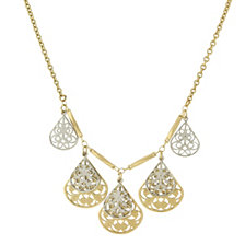 "2028 Gold/Silver-Tone Filigree Teardrop Collar Necklace 16"" Adjustable"